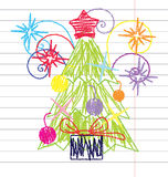 Crayon Christmas tree vector. Vector illustration of Christmas tree drawing with crayon on peace of lined paper Stock Photography