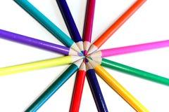 Crayon circle. Colored pencil making circle Stock Photography