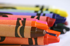 Crayon close-up. Crayons up close, with just the first few in focus Royalty Free Stock Photo
