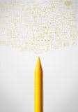 Crayon close-up with diagrams Stock Photo