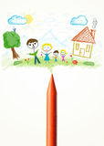 Crayon close-up with a drawing of a family Royalty Free Stock Image