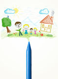 Crayon close-up with a drawing of a family Stock Images