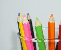 Crayon. Close up set of crayons and mix rainbow color Stock Photos