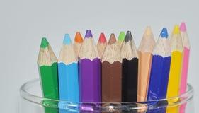 Crayon. Close up set of crayons and mix rainbow color Stock Image