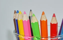 Crayon. Close up set of crayons and mix rainbow color Royalty Free Stock Images
