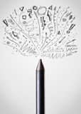 Crayon close-up with sketchy arrows. Coloured crayon close-up with sketchy arrows Stock Photo