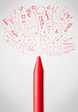 Crayon close-up with sketchy arrows. Coloured crayon close-up with sketchy arrows Royalty Free Stock Image