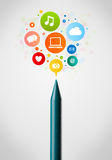 Crayon close-up with social network icons Royalty Free Stock Images