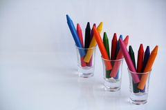 Crayon. Color full on the glass Stock Photo