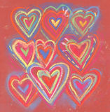 Crayon color grunge abstract valentine hearts Royalty Free Stock Photos