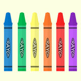 Crayon 6 color set. Flat vector Stock Photography