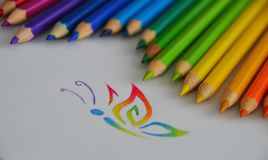 Crayon. Colored crayons on the paper Royalty Free Stock Images