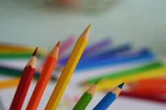 Crayon. Colored crayons on the paper Stock Photography