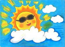 The sun wearing sunglasses in midsummer day with blank space in the clouds. A crayon colored image, showing the sun wearing sunglasses in midsummer day, looked Royalty Free Stock Image