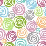 Crayon colorful hand drawing spiral helix circles pattern. Like kid`s drawing of multicolor funny round elements. stock illustration