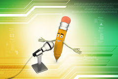 Crayon comique avec le microphone Photo stock