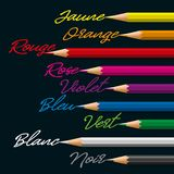Colorful palette of pencils and their colors write in English stock illustration