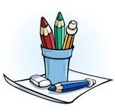 Crayon dans le stand en verre sur le papier Photos stock