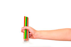 Crayon de couleur en main Photographie stock