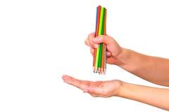Crayon de couleur en main Photographie stock libre de droits