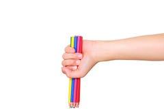 Crayon de couleur en main Images libres de droits