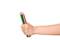 Crayon de couleur en main Photos libres de droits