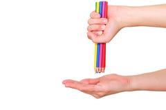 Crayon de couleur en main Photo stock