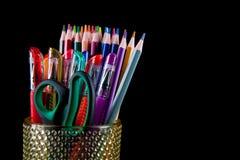 Crayon de couleurs en verre avec le fond arrière Photo libre de droits
