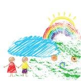 Crayon de dessin des enfants s avec l'image des enfants et de l'arc-en-ciel Vecteur illustration de vecteur