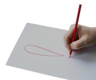 Crayon de prise d'homme sur la main droite, isolement Photographie stock