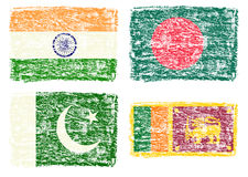 Crayon draw flag of South Asia country Royalty Free Stock Image