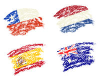 Crayon draw of group B worldcup soccer 2014 country flags Stock Photos