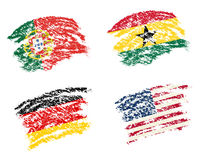 Crayon draw of group G worldcup soccer 2014 country flags. Germany,  Portugal,  Ghana,   USA Royalty Free Stock Images