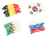 Crayon draw of group H worldcup soccer 2014 country flags. South Korea,Belgium,Algeria,Russia Royalty Free Stock Images