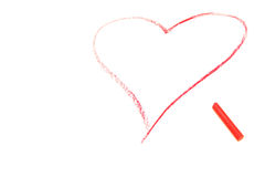 Crayon draw of red heart. Pastel crayon draw of red heart over white Royalty Free Stock Photos