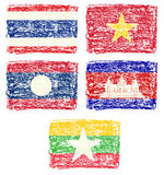 Crayon draw of south east Asia country flag Royalty Free Stock Images