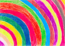 Crayon Drawing by a Child Stock Photography