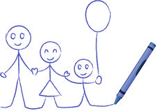 Crayon Drawing Of A Family - Vector Illustration Stock Images