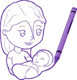 Crayon Drawing Of A Mother With Child Stock Photos