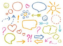 Crayon drawing speech bubbles, arrows, heart shape, smile, sign, symbols funny set. Colorful pastel chalk or pencil like kid`s hand drawn doodle child style Royalty Free Stock Image