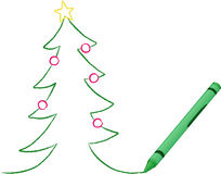 Crayon Drawn Christmas Tree Royalty Free Stock Photos
