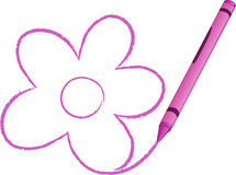 Crayon Drawn Flower vector illustration Royalty Free Stock Photography