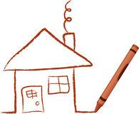 Crayon Drawn House Stock Images