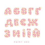 Crayon drawn paint style lettering kit. Stock Photo