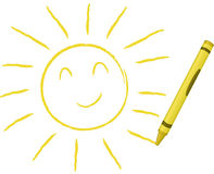 Crayon Drawn Sun - Vector Illustration