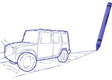 Crayon Drawn Suv - Vector Illustration Royalty Free Stock Photo