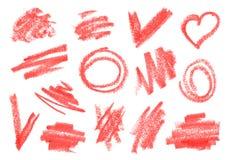 Crayon, dry brush, lipstick rough strokes, doodles set. vector illustration