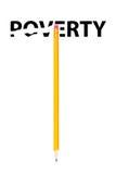 Crayon effaçant le mot PAUVRETÉ Images libres de droits