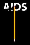 Crayon effaçant le mot SIDA Photo stock