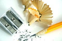 Crayon et affûteuse image stock